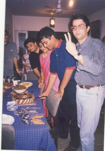 Cutting the cake before going to join his unit. Dr. Mrinal Patnaik is giving the Victory Sign