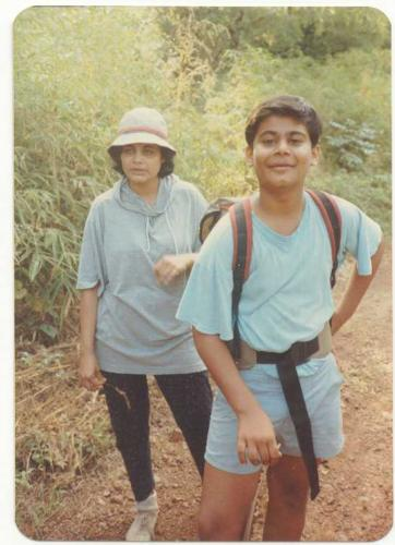 Trekking in the Sahyadris with his mother Geeta