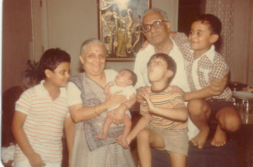 With his grand parents Manjula Kapadia (Mamu or Baimummy) and Bhagwandas Kapadia (Bha). Nawang is to the far right on Bha's  shoulder