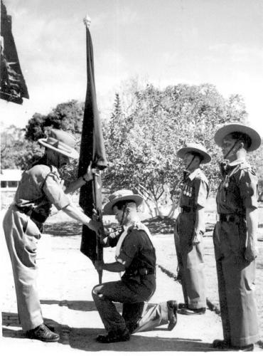 raising Lt PB Gurung accepting flag